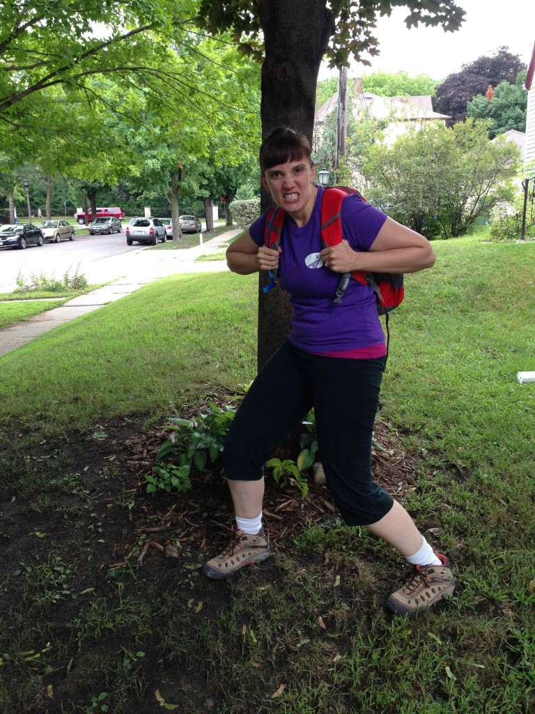 Lindsey Samples, ready to hike