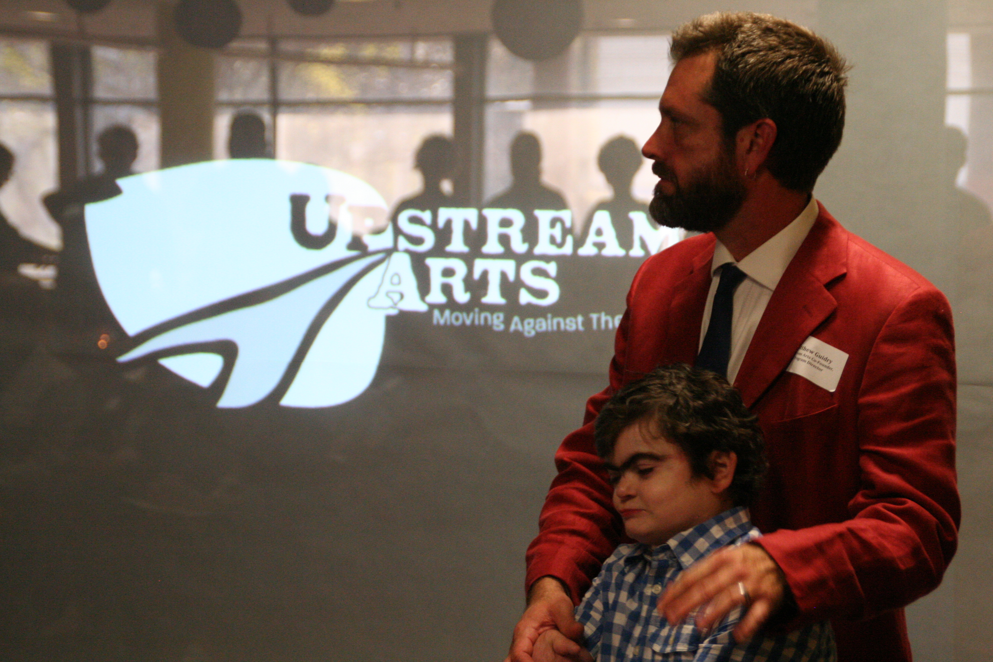 Matt and Caleb at Upstream Arts' first Annual Meeting and Fundraiser, 2014. Image by David Luke.