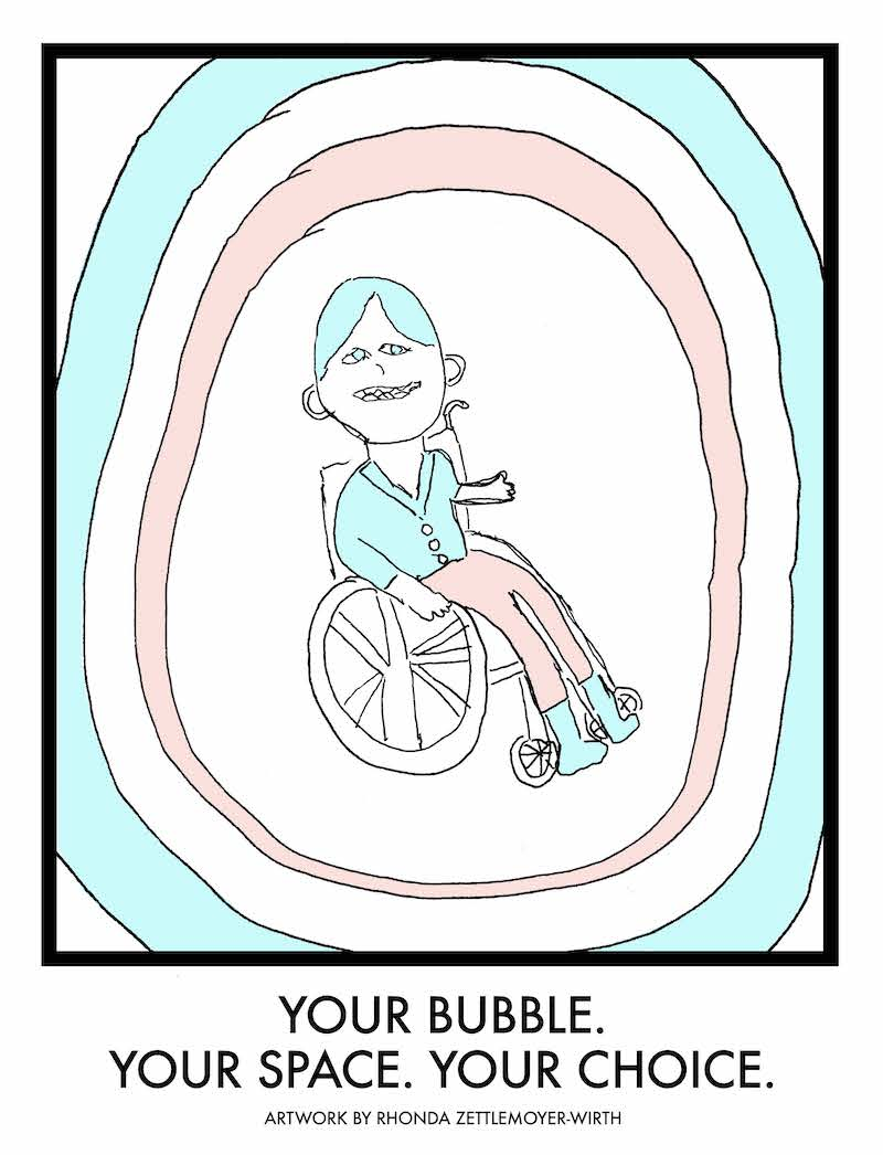 Drawing of a person in a wheelchair surrounded by a pink circle, surrounded by a teal circle.