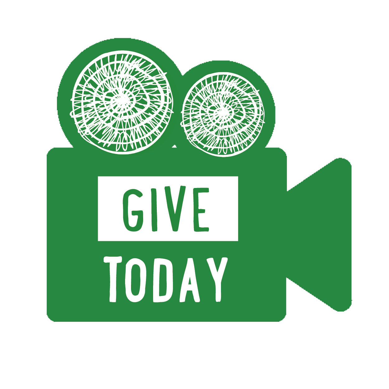 """Logo. Green video camera with UA spirals as film reels. The words """"Give Today"""" in bold."""
