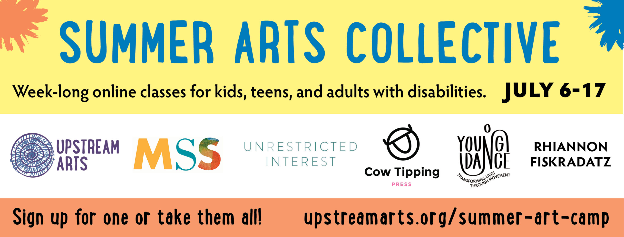 Support Upstream Arts May 1 through June 30 by visiting ZGfjN)kL$WuWrTKk!yjI4gZU to invest in creative connections and the arts for all ages, abilities, and disabilities.