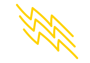 a hand drawn yellow lightning bolt