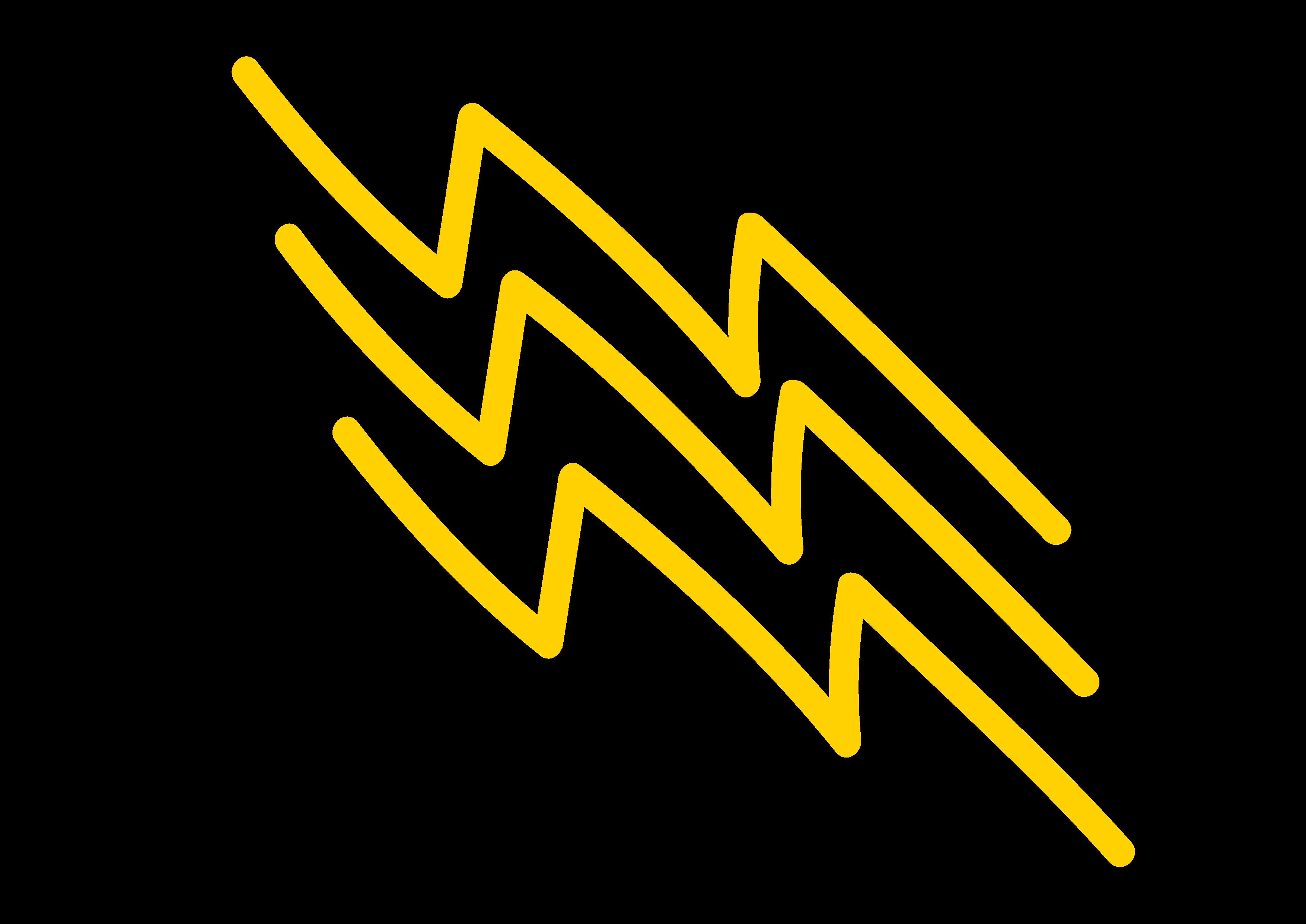 a hand drawn yellow lightning bolt